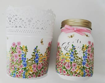 Bees and Flowers, Hand painted, Decoupaged Mason Jar and Plant pot Gift set, 500ml jar, Gift for home, Gift for her
