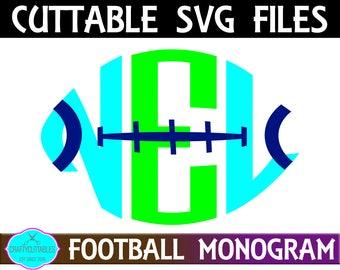 Monogram Football,College Football Monogram svg,NFL Football svg,Football monogram,Football Letter svg,Football Monograms