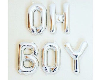 "3D Gold 16"" Foil Balloons 'OH BOY 'Its A Boy'' Baby Shower Oh Baby'  CONGRATS Silver Blue Mylar"