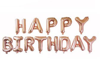 "New Rose Gold 16"" Foil Balloons 'Happy Birthday' gold letters balloon 1st party ( hang or stick )"