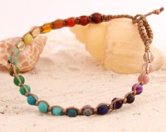 Rainbow Chakra Macrame Anklet