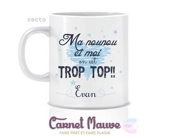 "Nanny gift mug ""nanny too top"" blue"