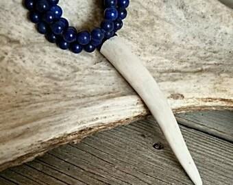 Blue Beaded Antler Tip Necklace