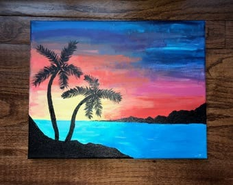 Sunset Island Canvas