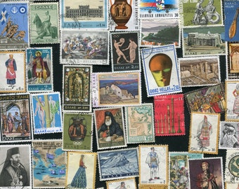 Greek Postage Stamps / 50 Used Postage Stamps From Greece