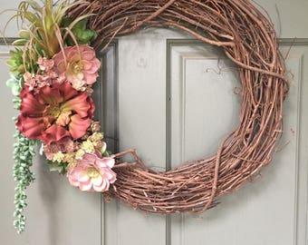 Artificial Succulent Wreath, front door wreath, succulent wreath, year around wreath, artificial wreath