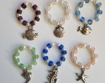 Beach Wine Glass Charms ~ Set of 6 ~ featuring fish, shell, seahorse, starfish, dolphin
