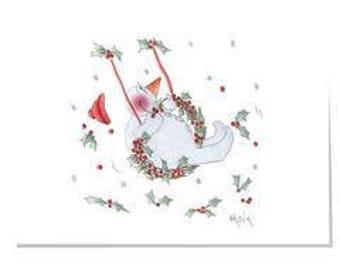 Happy Garden X11-Swinging Christmas Christmas Card (Large)
