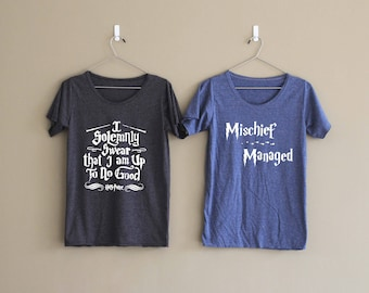 I Solemnly Swear That I am up to no Good Shirt Mischief Managed Shirt Harry Potter Couple Shirts Valentines Gift TShirt T-Shirt T Shirt Top