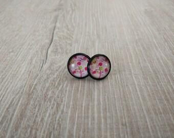 Earrings Fuchsia tree pattern