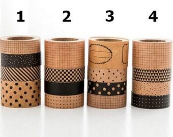 SUR COMMANDE - Lot de 4 Masking tape kraft - Coffret de 4 rouleaux de masking tape kraft - Scrapbooking, Faire-part, emballage cadeau