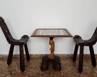 Chess set vintage solid wood