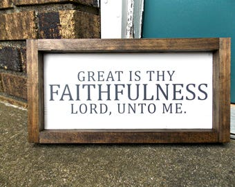 Great is Thy Faithfulness | Wood Sign | Rustic Decor | Farmhouse | Wall Decor | Scripture Sign | 6x12 |
