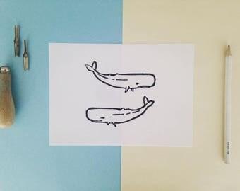 Linoleum print whale