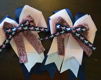 New pink and navy running horse show bows!