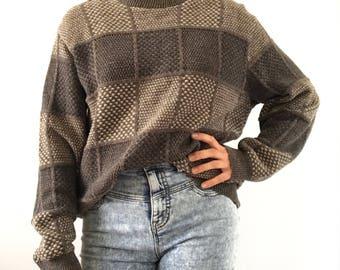 Vintage 90's Geomteric Grandpa Sweater