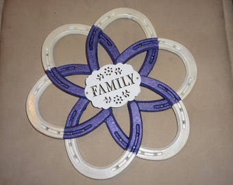 Pearl white and purple glitter Horseshoe flower