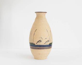 Vintage Mexican Vase / Tonala design / 60s pottery / Handmade Earthenware / Hand Painted Cranes in Pond / Bohemian Decor