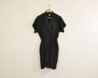 90s Minimal Romper, Polka Dot Onesie, Vintage 90s Romper, Short Sleeve Romper, Black and White Playsuit, Summer Jumpsuit, High Waist Shorts