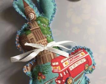 Handmade Cath Kidston stocking filler in london fabric little bunny rabbit london keyring