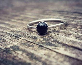 Natural Black Onyx & Eco Sterling Silver Ring