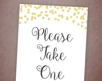 Please Take One Sign, Wedding Favor Sign, Please Take One Gold Glitter, Wedding Sign, Bridal Shower, Baby Shower, Printable Decor , A001