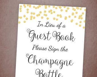 Please Sign the Champagne Bottle Printable, Gold Guest Book Sign, Bridal Shower Sign, Wedding Shower Bottle Sign, Instant Download, A001
