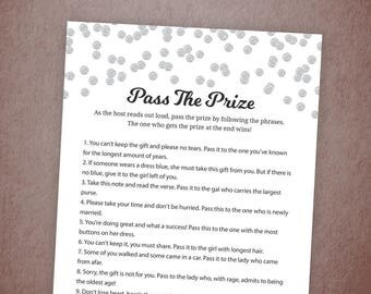 Pass the Prize Game, Pass the Gift, Pass the Parcel Rhyme Printable, Silver Confetti, Bridal Shower, Baby Shower, Wedding Shower Games, A003