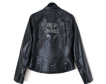 Vintage Harley Davidson Leather Jacket, Rare Harley Davidson Jacket, Black Harley Davidson Rider Jacket, Motorcycle Jacket, Racing Jacket