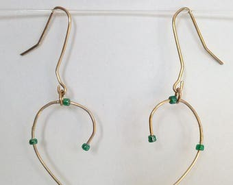 Small green beads dangling earrings