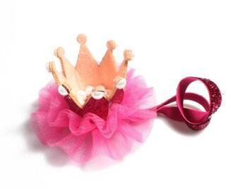 6colors Newborn Mini Felt Crown+Glitter Elastic Headband For Girls Hair Accessories Handmade Luxe Kids Headbands