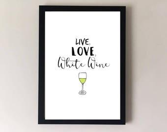 White wine print, wine print, wine art, bar cart art, bar art, kitchen art, kitchen home decor, kitchen print, kitchen frame, gifts for her