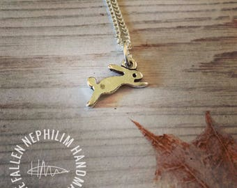 Little Silver Plated Leaping Hare Pendant and Chain, Wild Rabbit, Gift for Her,