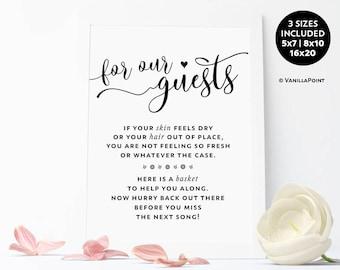 Wedding Bathroom Basket Sign, Wedding Printable Sign, Wedding Restroom Basket Sign, Wedding Bathroom Decorations, Wedding Toilet Basket Sign