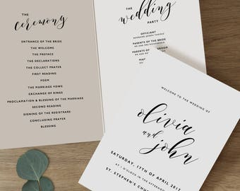 template for wedding program