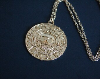 golg tone Pirates of the Caribbean coin necklace