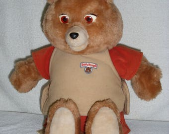 Original 1984 Teddy Ruxpin Animatronic Plush Talking Bear + Cassette Tape The  Airship