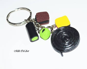 Keychain gourmet licorice polymer clay candy
