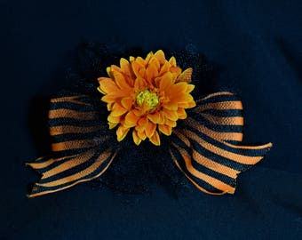 Halloween Hair Bow, Halloween Hair Bow on Elastic, Orange and Black Hair Bow, Flower Hair Bow, Grosgrain Hair Bow