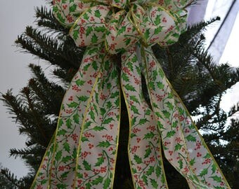 Holly Leaves and Berries Bow, Tree Topper Bow, Wreath Bow, Christmas Bow, Light Post Bow