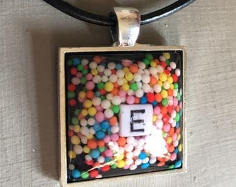 Personalised Pendant, Initials, custom, candy sprinkle charm necklace