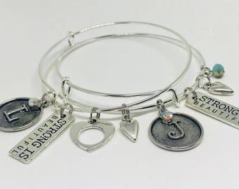 Initial Silver adjustable bracelet