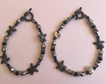 Silver & Black Shell Bracelets