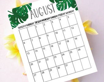 Wall Calendar 2017, Printable Calendar, Printable, Calendar 2017, Calendar, Desk Calendar, Tropical Leaf, Monstera, 2017, Wall Decor