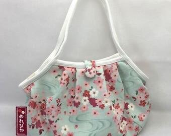 Women Bags Granny Bag Japanese style fabrics Light Blue with Sakura Cherry Blossom - Free Shipping!