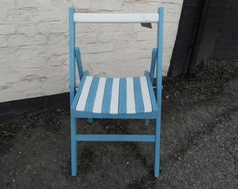 Vintage Chalk Painted Beach Hut/Garden Chair