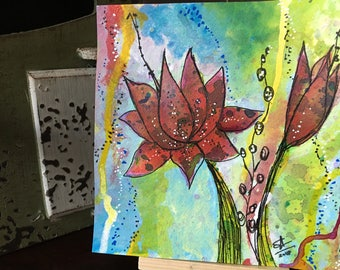 Water lillies 6x6 original painting