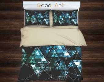 Triangle Geometric,Geometric Duvet Cover,Twin Full Duvet,Queen Duvet,King Duvet,Green Bedding,Modern Bedding,Art Bedding,Polygon Geometric