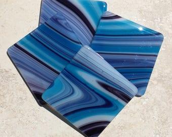 Fused Glass Coasters Blue Aqua Swirl (set of 4)
