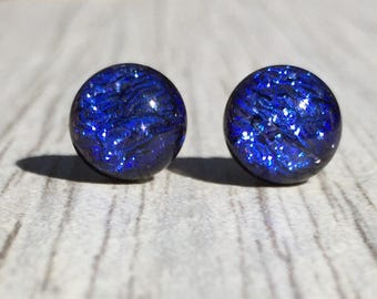 Dichroic Fused Glass Stud Earrings - Cobalt Blue Crinklized Dichroic Studs with Solid Sterling Silver Posts
